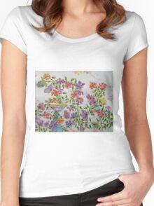 PAW-SCH - GARDEN BIRD BATH Women's Fitted Scoop T-Shirt