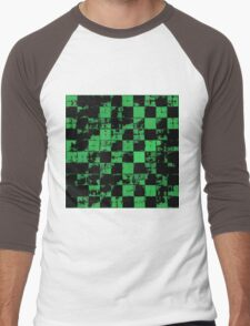 Green and Black Bricks Pattern Men's Baseball ¾ T-Shirt