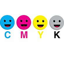 CMYK Scale Smiley Faces Photographic Print