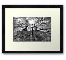 House on the Prairies - BW Framed Print