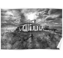 House on the Prairies - BW Poster