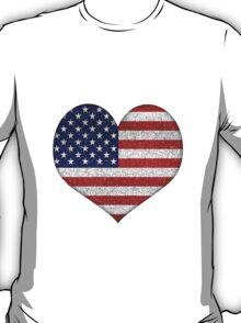 Usa Grunge Heart Shape Flag T-Shirt