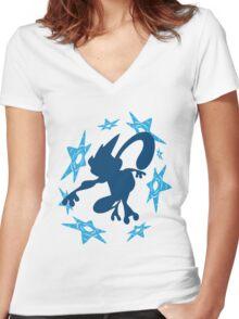 Greninja Shurikens Women's Fitted V-Neck T-Shirt
