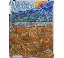 Landscape with wheat sheaves and rising moon -  Vincent van Gogh iPad Case/Skin