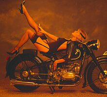 Model girl on BMW 1930's motorcycle by flyingscot