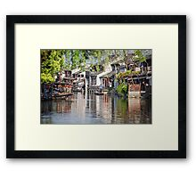 Cleaning the Canal Framed Print