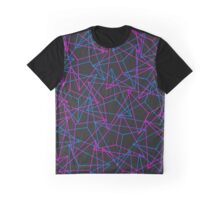 Abstract Geometric 3D Triangle Pattern in Blue / Pink Graphic T-Shirt