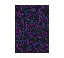 Abstract Geometric 3D Triangle Pattern in Blue / Pink Art Print