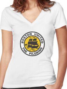 Boston United Badge Women's Fitted V-Neck T-Shirt