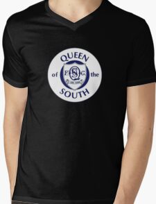 Queen of the South Badge - Scottish Championship Mens V-Neck T-Shirt