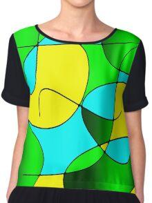 ABSTRACT CURVES-1 (Greens, Yellows & Light Blues-3)-(9000 x 9000 px) Chiffon Top