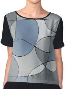 ABSTRACT CURVES-1 (Greys-3)-(9000 x 9000 px) Chiffon Top