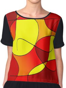 ABSTRACT CURVES-1 (Reds, Oranges & Yellows)-(9000 x 9000 px) Chiffon Top