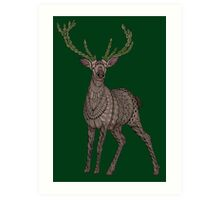 Stag on hunter green Art Print
