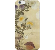 Ma Yuanyu - Chrysanthemums And Quail. Still life with flowers: flowers, blossom, Quail, Chrysanthemums, floral flora, wonderful flower, plants, cute plant for kitchen interior, garden,  Bird iPhone Case/Skin