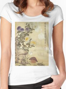 Ma Yuanyu - Chrysanthemums And Quail. Still life with flowers: flowers, blossom, Quail, Chrysanthemums, floral flora, wonderful flower, plants, cute plant for kitchen interior, garden,  Bird Women's Fitted Scoop T-Shirt