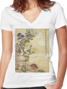 Ma Yuanyu - Chrysanthemums And Quail. Still life with flowers: flowers, blossom, Quail, Chrysanthemums, floral flora, wonderful flower, plants, cute plant for kitchen interior, garden,  Bird Women's Fitted V-Neck T-Shirt
