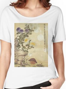Ma Yuanyu - Chrysanthemums And Quail. Still life with flowers: flowers, blossom, Quail, Chrysanthemums, floral flora, wonderful flower, plants, cute plant for kitchen interior, garden,  Bird Women's Relaxed Fit T-Shirt