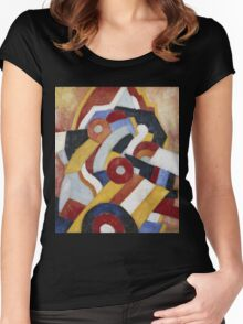 Marsden Hartley - Abstraction Blue, Yellow And Green. Abstract painting: abstract art, geometric, expressionism, composition, lines, forms, creative fusion, spot, shape, illusion, fantasy future Women's Fitted Scoop T-Shirt