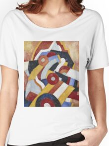 Marsden Hartley - Abstraction Blue, Yellow And Green. Abstract painting: abstract art, geometric, expressionism, composition, lines, forms, creative fusion, spot, shape, illusion, fantasy future Women's Relaxed Fit T-Shirt