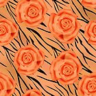 Seamless texture style tiger orange background with roses.  by fuzzyfox