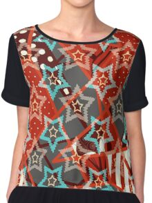Seamless abstract geometric texture pattern on red background Chiffon Top