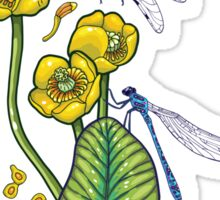 yellow water lilies and dragonflies Sticker