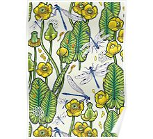 yellow water lilies and dragonflies Poster