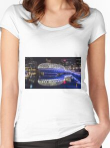 Webb Bridge by night at the Docklands, Melbourne Women's Fitted Scoop T-Shirt