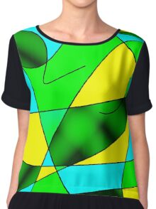 ABSTRACT CURVES-2 (Greens, Light Blue & Yellow)-(9000 x 9000 px) Chiffon Top