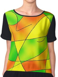 ABSTRACT CURVES-2 (Greens, Oranges & Yellows)-(9000 x 9000 px) Chiffon Top