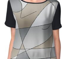 ABSTRACT CURVES-2 (Greys & Beiges)-(9000 x 9000 px) Chiffon Top