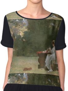 Marcus  Stone - Love At First Sight . Lovers portrait: lovers couple, woman and man, flirtation, garden, love relations, lovely couple, amorous, valentine's day, flowers, romance,  costume Chiffon Top