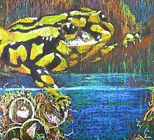 Australian Corroboree Frog in Pastel Throw Pillow by Heatherian