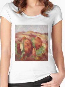 Marsden Hartley - Mountains. Mountains landscape: mountains, rocks, rocky nature, sky and clouds, trees, peak, forest, rustic, hill, travel, hillside Women's Fitted Scoop T-Shirt