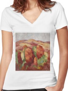 Marsden Hartley - Mountains. Mountains landscape: mountains, rocks, rocky nature, sky and clouds, trees, peak, forest, rustic, hill, travel, hillside Women's Fitted V-Neck T-Shirt
