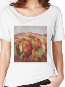 Marsden Hartley - Mountains. Mountains landscape: mountains, rocks, rocky nature, sky and clouds, trees, peak, forest, rustic, hill, travel, hillside Women's Relaxed Fit T-Shirt
