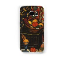 Marsden Hartley - Still Life . Still life with fruits and vegetables: still life with fruits and vegetables, fruit, vegetable, grapes, tasty, gastronomy food, flowers, dish, cooking, kitchen, vase Samsung Galaxy Case/Skin