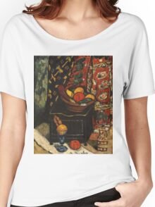 Marsden Hartley - Still Life . Still life with fruits and vegetables: still life with fruits and vegetables, fruit, vegetable, grapes, tasty, gastronomy food, flowers, dish, cooking, kitchen, vase Women's Relaxed Fit T-Shirt