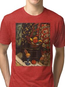 Marsden Hartley - Still Life . Still life with fruits and vegetables: still life with fruits and vegetables, fruit, vegetable, grapes, tasty, gastronomy food, flowers, dish, cooking, kitchen, vase Tri-blend T-Shirt