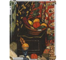 Marsden Hartley - Still Life . Still life with fruits and vegetables: still life with fruits and vegetables, fruit, vegetable, grapes, tasty, gastronomy food, flowers, dish, cooking, kitchen, vase iPad Case/Skin