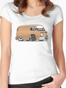 VW T2 van cartoon brown Women's Fitted Scoop T-Shirt