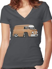 VW T2 van cartoon brown Women's Fitted V-Neck T-Shirt