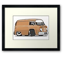VW T2 van cartoon brown Framed Print