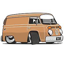 VW T2 van cartoon brown Photographic Print