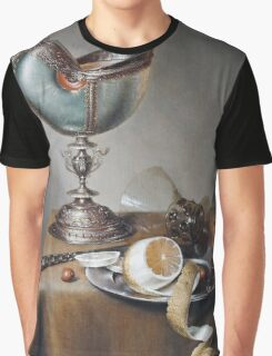 Marten Boelema De Stomme - Still-Life With Nautilus Cup . Still life with fruits and vegetables: Nautilus Cup , lemon, knife, gastronomy food, nuts, dish, glass, kitchen, vase Graphic T-Shirt