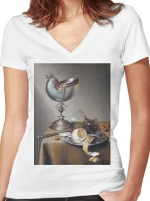 Marten Boelema De Stomme - Still-Life With Nautilus Cup . Still life with fruits and vegetables: Nautilus Cup , lemon, knife, gastronomy food, nuts, dish, glass, kitchen, vase Women's Fitted V-Neck T-Shirt