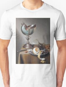 Marten Boelema De Stomme - Still-Life With Nautilus Cup . Still life with fruits and vegetables: Nautilus Cup , lemon, knife, gastronomy food, nuts, dish, glass, kitchen, vase Unisex T-Shirt