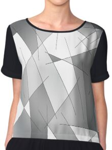 ABSTRACT LINES-1 (Grays & White)-(9000 x 9000 px) Chiffon Top