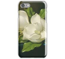 Martin Johnson Heade - Giant Magnolias On A Blue Velvet Cloth. Still life with flowers: flowers, hummingbird, nest, orchid,  lotus blossom, wonderful flower, forest, passion flowers, garden, magnolias iPhone Case/Skin